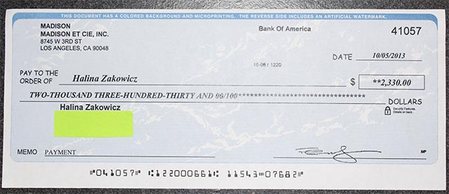 Fake Check from a Car Wrap Scam