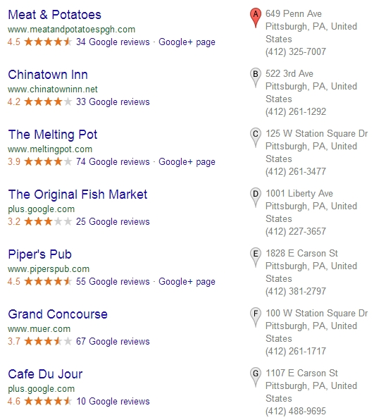 Google Pigeon Local Listings
