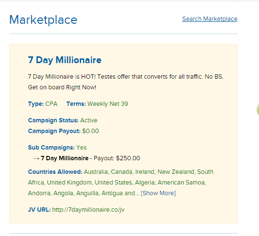 This is the 7 day millionaire joint venture page. It's where they tell their affiliates how much money they'll earn promoting the program.