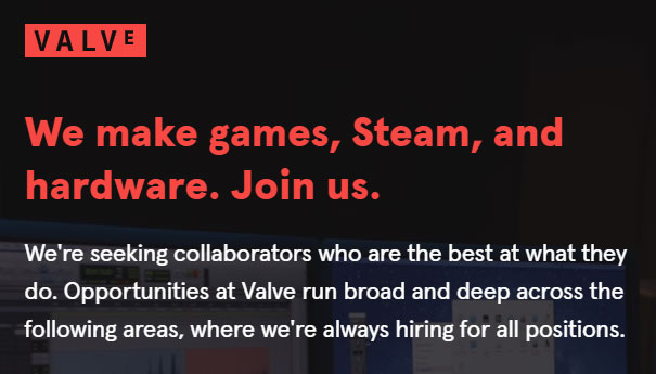 Job listings at Valve