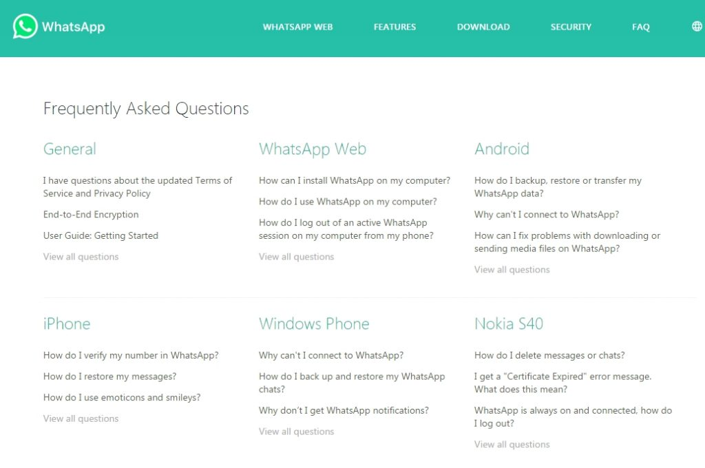 FAQ This - whats app list of questions