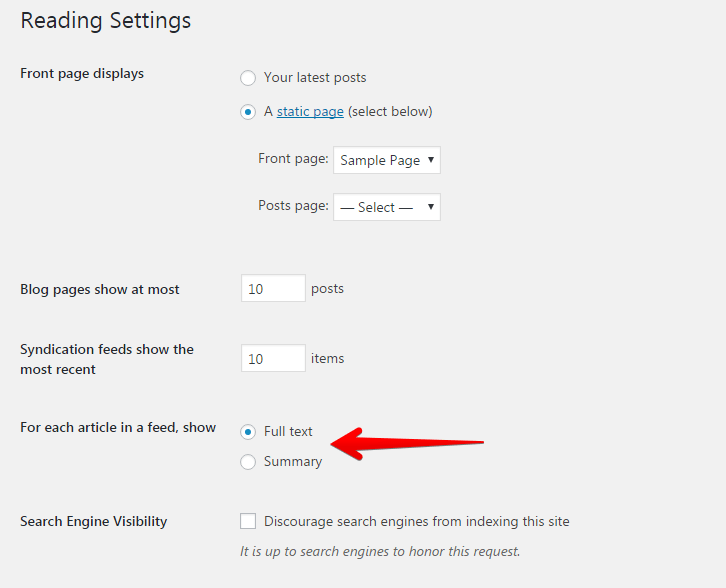Excerpt setting in WordPress