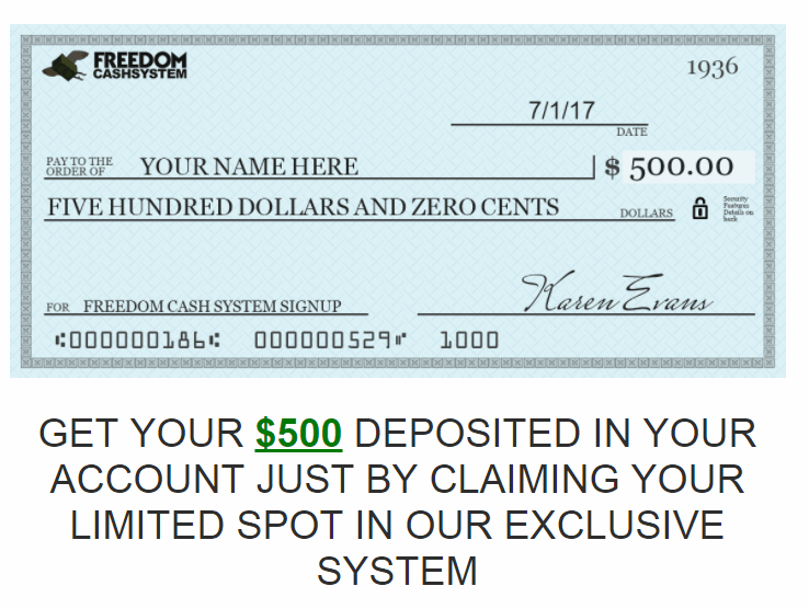 Freedom Cash System 500 dollars