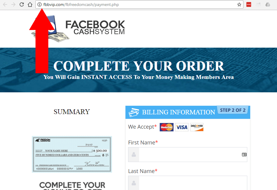 FB Freedom Cash Facebook on Fire no security