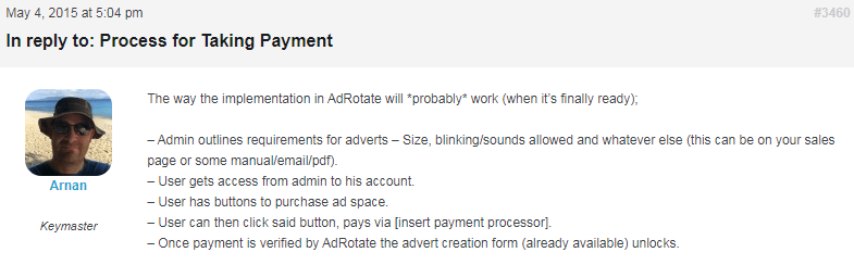 AdRotate payment system