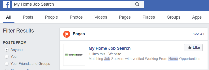 My Home Job Search real FB likes