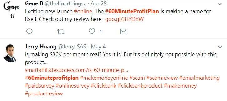 60 minute profit plan real twitter results
