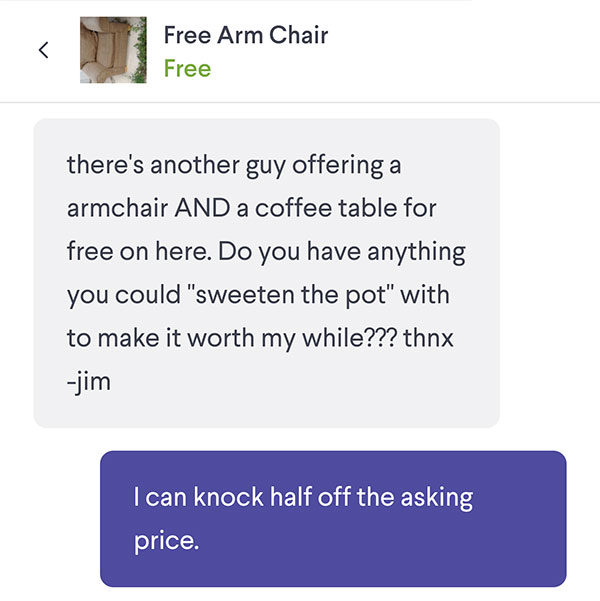 Free Arm Chair Haggling